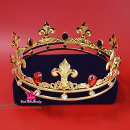 Wholesale Silver Queen Crown - Men`s Crown Rhinestone Gold Red Crown King`s Royal Tiara Majestic Princess Unisex Imperial Premium Prince Queen Fashion Show Hairwear Mo157