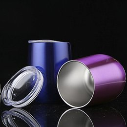 Wholesale Glass Shaped Cup - High quality Egg Cups Powder Coated Stainless Steel Egg Shaped Beer Wine Glass 9oz 24 Colors Wine Cup Drinkware Mugs with Lid SC001