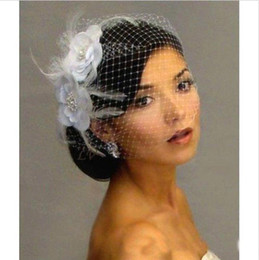 Wholesale Flower Sales - Hot Sale Bird Cage Veil Wedding Veil Birdcage Netting Face Short Feather Flower White Fascinator Bride Hats with Veil
