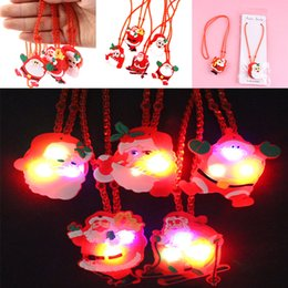 Wholesale led light up necklace - LED Christmas Light Up Flashing Necklace Children Kids Glow up Cartoon Santa Claus Pendant Party Xmas Dress Decorations WX9-156