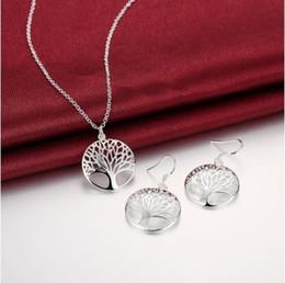 Wholesale Pendant Bracelet For Life - Tree of Life Lucky Elegant 925 Silver Plated Pendant Necklace&Earrings Bracelet Jewelry Set for Women Gift