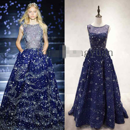 Wholesale Small Hourglasses - 2016 Zuhair Murad Evening Gowns Sparkly Beaded Crystal A Line Navy Blue Special Occasion Dresses Small Star Celebrty Gown Custom Made