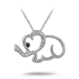 Wholesale Fashion For Friends - New Arrival 30pcs lot Rhodium Plated Fashion Link Chain Necklaces Carve Cute Elephant With White and Black Crystal Fantastic Gift For Friend