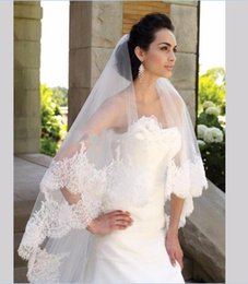 Wholesale Cheap Black Veils - Cheap 2016 Elegant One Layer Lace Edge Tulle Short Wedding Veil 1.5 Meter Bridal Veil Wedding Accessories velos de novia High Quality