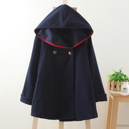Wholesale Funds Easy - Sen System Autumn And Winter Dress Easy Long Fund Thickening Even Hat Woolen Overcoat Shawl Cloak Loose Coat Woman