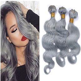 Wholesale Blonde Wavy Hair Weave - 9A Gray Brazilian Virgin Hair Body Wave Wavy Extensions Sliver Grey Hair Weaving 3 Bundle Deals Unprocessed Virgin Human Hair Wefts