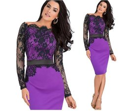 Wholesale Long Sleeve Colorblock Dress - Women Elegant Pinup Vintage Retro Lace Off Shoulder Patchwork Belted Stretch Colorblock Bodycon Party Fitted Dress free shipping