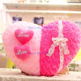 Wholesale Heart Pillow White For Wedding - Cartoon Lovers 3D Rose Heart Plush Pillow LOVE Wedding Gift girl Valentines Gift For Girlfriend Soft sleep pillow 40cm