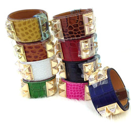 Wholesale cheap silver bangles - Cheap wholesale H crocodile pattern leather four nail rivets leather bracelet exaggerated punk wind wide bracelet