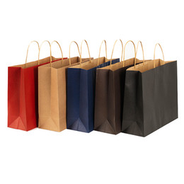 Wholesale Wedding Favor Bag Blue - 2016 stock and customized colorful paper gift bag brown kraft paper bag with handles wholesale ELB152
