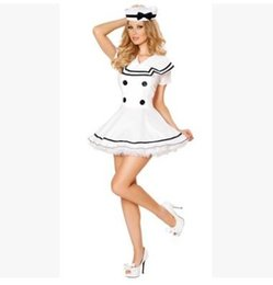 Wholesale Navy Dress Uniform - whiteEuropean and American sailor suit Navy role-playing Sexy dress uniform temptation Nautical Costume Halloween cosplay Uniform temptation