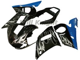 Wholesale Black 99 R6 Fairing Kit - Motorcycle Frame Injection Mold Complete Body Fairing Kit for YZF600 YZF R6 98 99 00 01 02 Injection Body Fairing Kit Black with White Flame