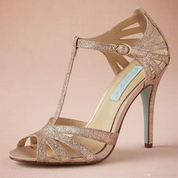 """Wholesale Dance Shoes Sandals - Champagne Glittery Wedding Shoe Custom Made T-strap Leather Sole Comfortable Pumps Toe 4"""" Leather Wrapped Heels Women Sandals Dance Shoes"""