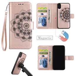 Wholesale Iphone Cover Colours Leather - 6 colours Half flower 3 card+photo frame wholesale leather skin cover case for iphone x 7 plus 6S PLUS Samsung S8 PLUS S7 EDGE