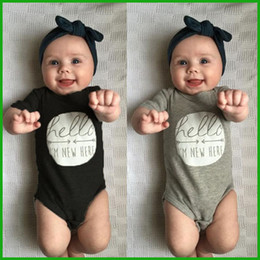 Wholesale Gray Infant Headbands - Newborn baby boys girls rompers bodysuits black grey colors avaialble letter decoration infant one-pieces sets via epacket free shipping