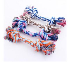 Wholesale Dog Rope Cotton - Dog Toys Chews Puppy Cotton Chew Knot dog toy Braided Bone Rope 16CM 100 pcs free shipping