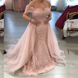 Wholesale Dusky Pink Dresses - 2017 Mermaid Prom Dresses Dusky Pink Lace Tulle Evening Gowns Off the Shoulder Appliqued Long Formal Party Wear Detachable Train