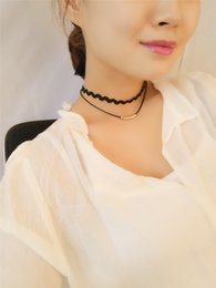 Wholesale Black Beads Choker - Black Double Layer Leather Choker Beads Necklace For Women Gothic Punk Multilayer Velvet bead Pendant Charm 90s Vintage Jewelry xr160617