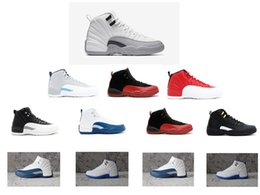 Wholesale Cheap Leather Goods Men - Cherry Gym red Mens Basketball Shoes sneaker Cheap Good Quality 12s Discount Sports men Leather Sneakers Retro 12 white grey Barons
