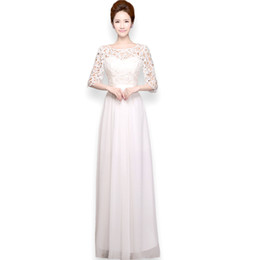 Wholesale Sexy Dress Expansion - 2016 Fashion Classic Lady Formal Dresses White Blue Pink Green Sexy Lace Chiffon Full Length Maxi Dress With Expansion Skirt