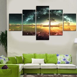 Wholesale Scenery Trees Painting - Unframed Modern Printed on Canvas Beautiful Scenery and Tree Oil Painting Living Room Home Decoration Pictures HD Print Painting Art