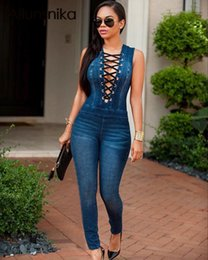 Wholesale Sexy Club Wear Jeans - Wholesale- Ailunsnika 2017 Sleeveless Dark Denim Jeans Overalls Women Sexy Deep V Neck Long Rompers Party Night Club Wear Jumpsuit OS6002