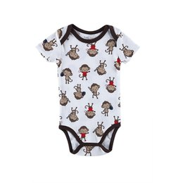 Wholesale Cheap Boys Christmas Gifts - Cheap Baby Boy Girl Clothes Monkey Patternd Summer Baby 100% Cotton Tracksuit O-neck Newborn Baby Gift 0-12 Months Popular Style