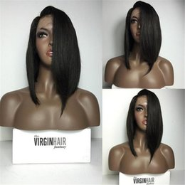 Wholesale french hair cut - Hot product human hair lace front wig Short Cut Bob Hairstyle Glueless full lace wigs bob stright hair wigs for black woman