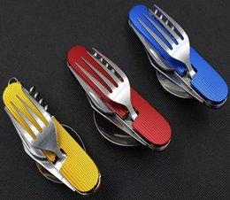 Wholesale Stainless Steel Camping Equipment - Free shipping Outdoor camping equipment Portable multifunction stainless steel Folding tableware picnic knife fork spoon Use can be split
