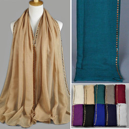 Wholesale Scarves Studs - Wholesale-SF-060 2015 Autumn Winter New Arrival Fashion Charm High Quality Gold Studs Beaded Scarf Shawl Muslim Hijab