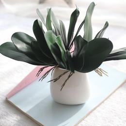 Le foglie di orchidee online-Artificiale verde farfalla orchidea foglia casa decorazione della festa nuziale materiale di alta qualità pianta verde vendita calda 2 5fh KK