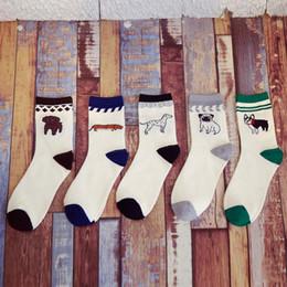 Wholesale Wholesale Dog Socks - Wholesale-New Series Comfortable White women and men's socks Cotton Husky Pugs 5 style Faithful dog Embroidery happy Socks