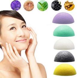 Wholesale face sponges - 2016 Hot Selling Natural Konjac Konnyaku Facial Puff Face Wash Cleansing Sponge Green Makeup Beauty Tools Free Shipping