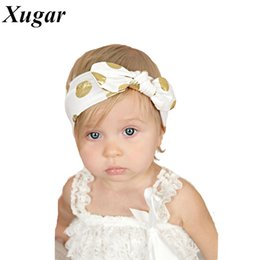 Wholesale Polka Dot Jersey - Wholesale- Gold Polka Dots Baby Headband DIY Knotted Bow Baby Head Wraps Jersey Kids Turban Hair Accessories