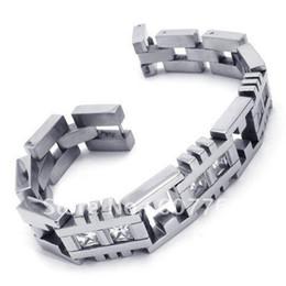 Klare stein armband online-Japan Korea Mode 316L Edelstahl Herren Clear Zirkon CZ Clear Stones Inlay Armbänder