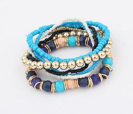 bracelets bohème multicouches Promotion En gros 6 Couleurs EuropéenneAmerican Fashion Bracelet Strand Couleur Perles Multicouche Élastique Bracelets Femmes Bohemia Style Barcelet 12set / lot