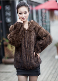 Wholesale Real Fur Hood - Winter Fur Coat Jacket for Women Genuine Real Knitted Vintage Outerwear Coats with Hood Size L to 6XL Plus Size hoodies