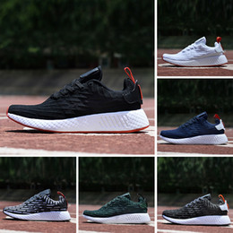 Wholesale M Runner - High quality NMD Runner R2 Primeknit Mesh Triple White Black Blue zebra Men Women Running Shoes Sneakers NMDs Runner Sports Shoes size 36-45