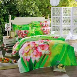Wholesale Oil Painting Duvet Cover Flowers - 2016 New Arrival 5D Oil Painting Butterfly and Flowers Printed Queen Size 100% Egyptian Cotton Bedding Set Duvet Cover Set