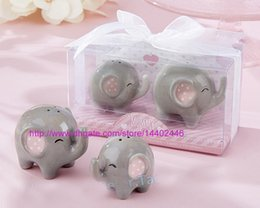 Wholesale Peanuts Baby - 100pcs=50sets Mommy and me Ceramic Little Peanut Ceramic Elephant Salt and Pepper Shaker Set Baby Shower Favors Party Wedding