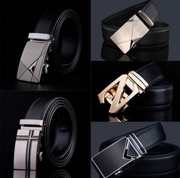 Wholesale Wholesale Black Fashion Belts - Fashion leather waist belt Mixed style men's Automatic buckle belt strap genuine leather belt for men high quality free shipping