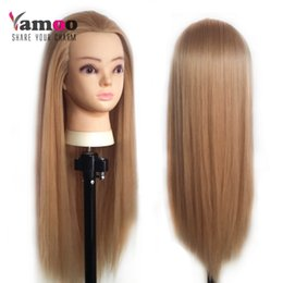 Wholesale Free Mannequin Heads Hair - 2016 New Fashion Style 100% High Tempearture Synthetic Fiber Straight Hair The Test Head Cosmetology Mannequin +Free Stands