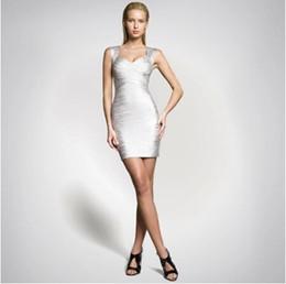 Wholesale Tights Packaging - New Fashion bandage dress sexy nightclub star bronzing package hip dress Night dress Tight skirt Street Style
