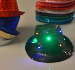 Wholesale Sequin Cowboy Hats - LED light hat colorful Sequin cowboy hat Prom Dress funny Halloween Christmas supplies