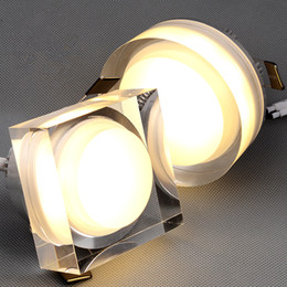 Wholesale Led 1w Crystal Light - Crystal Downlight Round square 1W 3W 5W 7W LED Ceiling Recessed Light 85-265V Cabinet Wall Spot Downlight Home Lighting