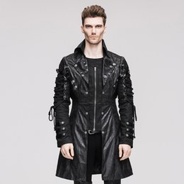 jaqueta de couro longa da motocicleta Desconto Atacado- Punk Rock Men Faux Leather Casacos de motocicleta Cool Garage Heavy Metal Windproof Biker Jacket Long Male Moto Couro Coat