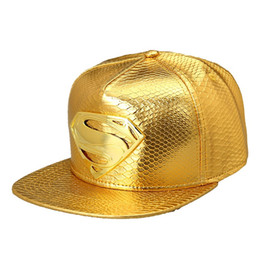cap superman gold Coupons - High Quality Star PU Hats Supermen Snapback Gold Caps Hip Hop Baseball Hats Popular Mens Sports Adjustable Hats DJ Gift