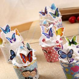 Wholesale Wedding Paper Butterflies - Cake Topper Wafer Paper Letter Emoji Flower Butterfly Cupcake Picks Wedding Cake Decoration Cupcake Topper OOA2621