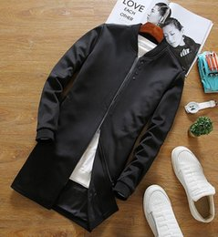 Wholesale Chinese Style Jackets Men - In the autumn of 2016 the new men's long sleeve coat dust coat collar jacket long Chinese style fashion