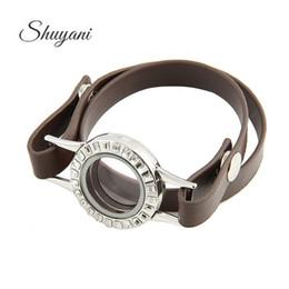 Canada Nouveaux bracelets en cuir de mode pour les femmes rondes magnétiques vivant mémoire 30mm verre médaillon bracelet bijoux mélanger 3 couleurs Offre